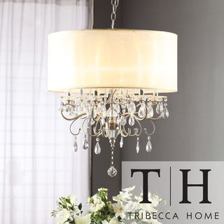 drum chandelier with drop crystals | TRIBECCA HOME Silver Mist Hanging Crystal