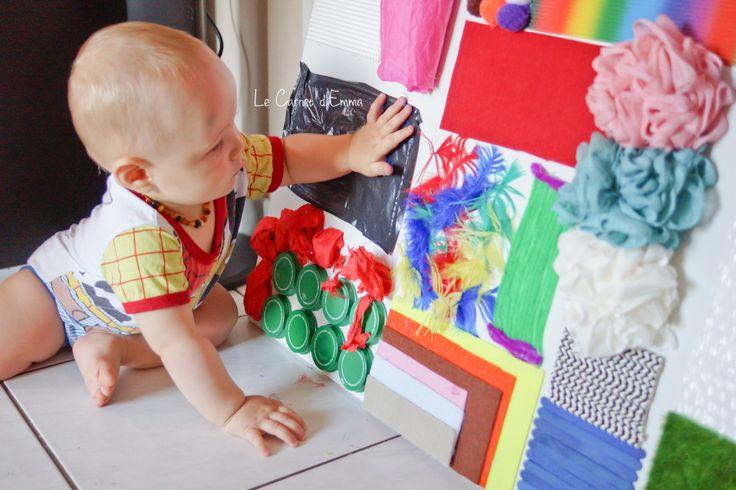J'avais en tête depuis très longtemps de créer une plaque sensorielle à Kristian. Après avoir fouillé des heures sur pinterest et trouver le matériel, un s