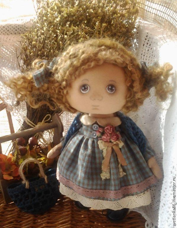 Купить Дефчулька 1 - темно-бирюзовый, кукла ручной работы, кукла в подарок, подарок
