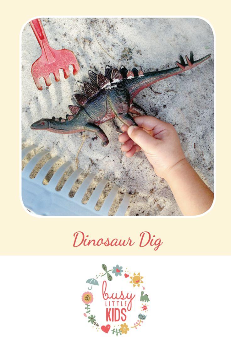 Fun, simple, easy sunny day kids activity - Dinosaur Dig