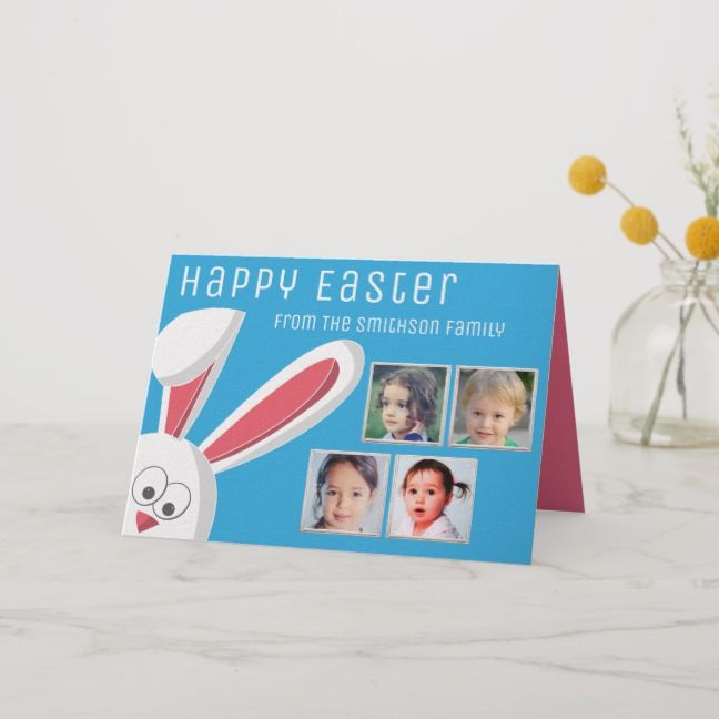 Modern Happy Easter Cute Bunny Photo Collage Holiday Card With