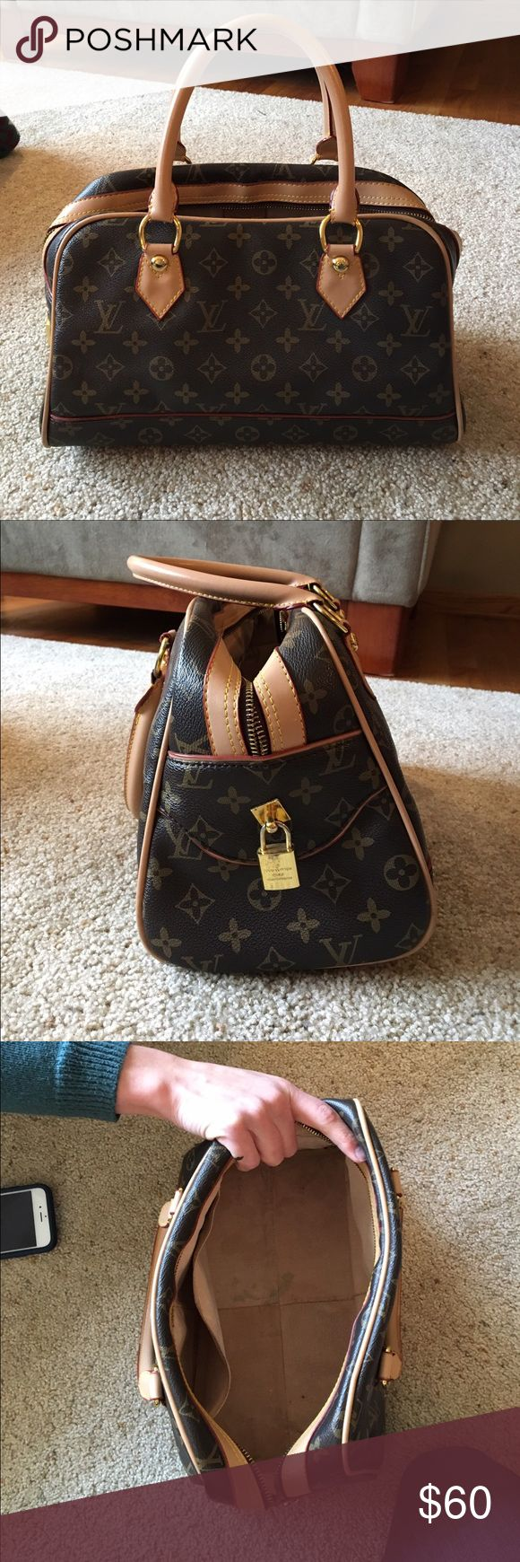 FAKE Louis Vuitton purse Very cute small handbag. PRICE IS VERY FLEXIBLE!! I'm no expert but 99.9% sure this is not the real thing. Has been used a few times. Up close it has a few blemishes as seen in pictures but looks great otherwise. fake louis vuitton Bags Totes