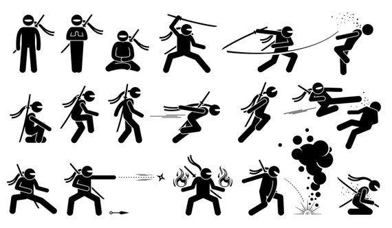 Ninja Svg Ninja Eps Ninja Vector Ninja Png Ninja Etsy In 2021 Stick Figure Drawing Stick Figure Fighting Stick Figure Animation
