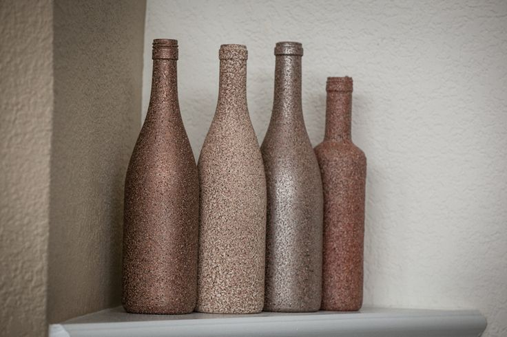 Wine bottle crafts using stone spray paint.  Pretty!