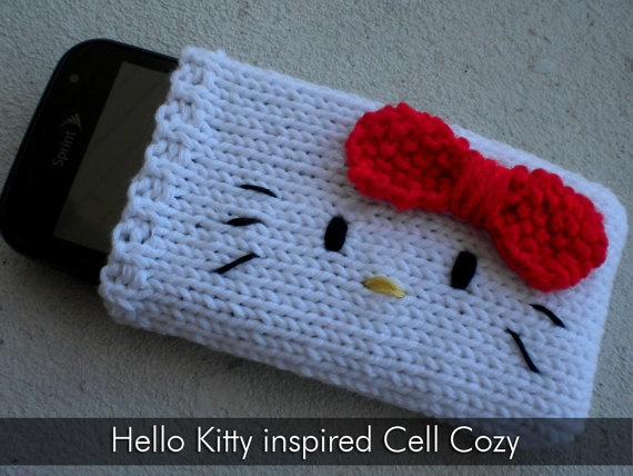 Hello Kitty inspired phone cover @sarah f senula I wonder if you could use something like this on a larger scale for your kindle...learn to knit!