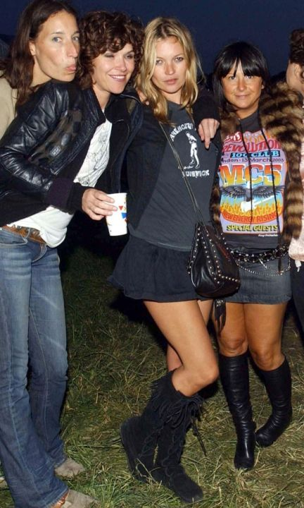 Kate Moss Shows Off Her Perfect Pins In A Playful Skirt At Glastonbury Festival, 2003
