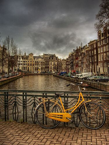 This photo was taken in Amsterdam where bicycles are the most important way of getting around in this city.