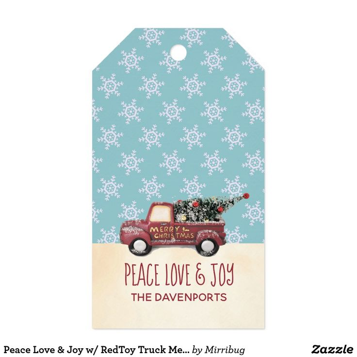 Peace Love & Joy w/ RedToy Truck Merry Christmas Gift Tags