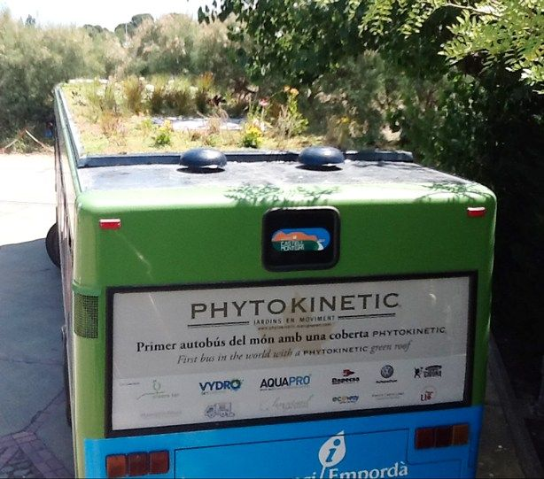 Barcelona area landscape designer Marc Grañén showed Urban Gardens PhytoKintetic, his lightweight green roof system for city buses and other vehicles.