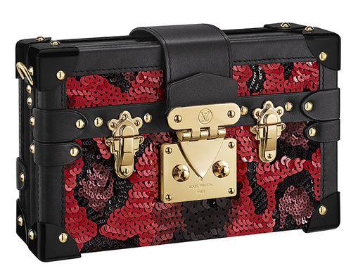 Louis Vuitton  Pochette Petite Malle en satin, cuir, métal et sequins