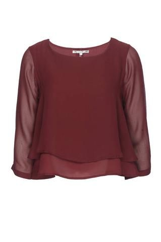Image result for red plum sheer layered blouse