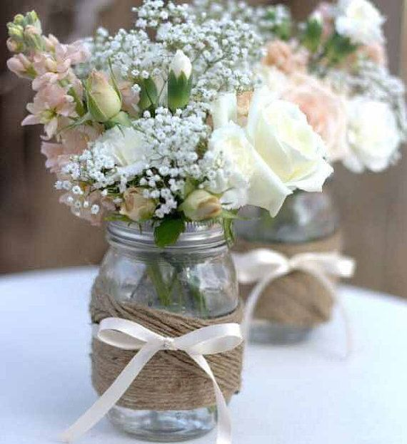 Burlap and lace wedding mason jars burlap by BlissBridalWeddings