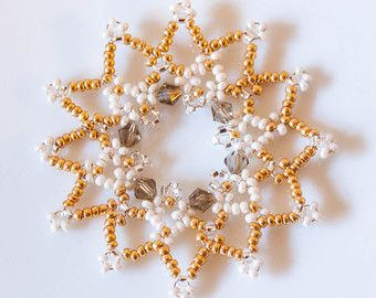 Set of Twelve Luxurious Beaded Golden Snowflake Christmas Decorations/Ornaments