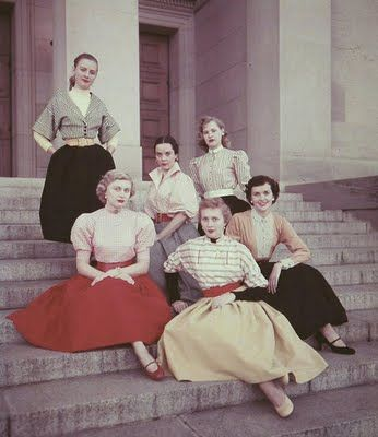A lovely array of full-skirted college fashions from the early 1950s. I wish we still wore this.