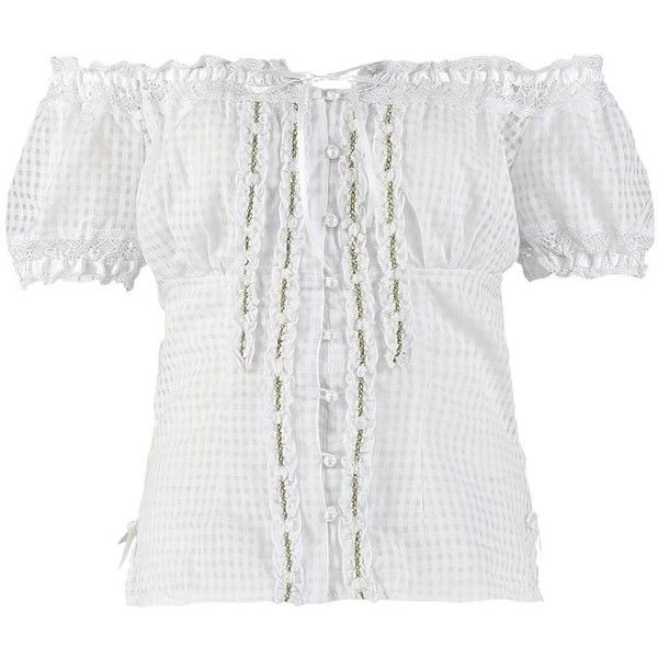 Krüger Dirndl Blouse weiss ($84) ❤ liked on Polyvore featuring tops, blouses, white, cotton blouses, off the shoulder blouse, white cotton blouse, white blouse et white crop top