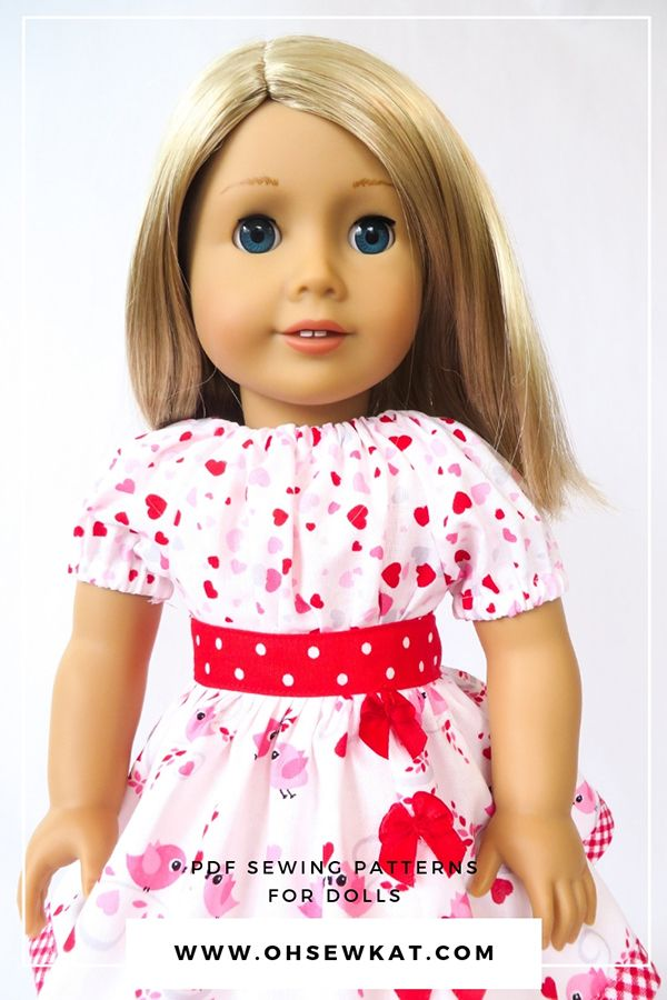 Budget Friendly Doll Clothes Diy Valentine Dresses With Oh Sew Kat Patterns Doll Dresses Diy Dolls Clothes Diy Doll Dress