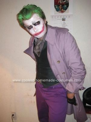 Homemade Dark Knight Joker Costume: This Dark Knight Joker Costume was done both by my boyfriend and me. I took care of his hair and make-up and helped put the costume together.   It was