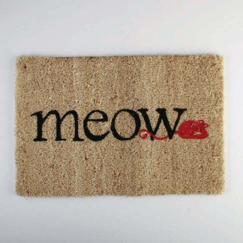 TAG 201063 18-Inch by 12-Inch Meow Cat Mat Coir Door Mat by Tag. $12.00. For best results please use in a covered area. Can be shaken or vacuumed clean. We utilize high quality fade resistant inks in printing process. Hardy long lasting fibers are used. Smaller size mat 12-inch by 18-inch. Our coir mats are made from a natural, renewable fiber by skilled crafts people in small villages in India. Using traditional processes coconut fibers are harvested and collected by h...