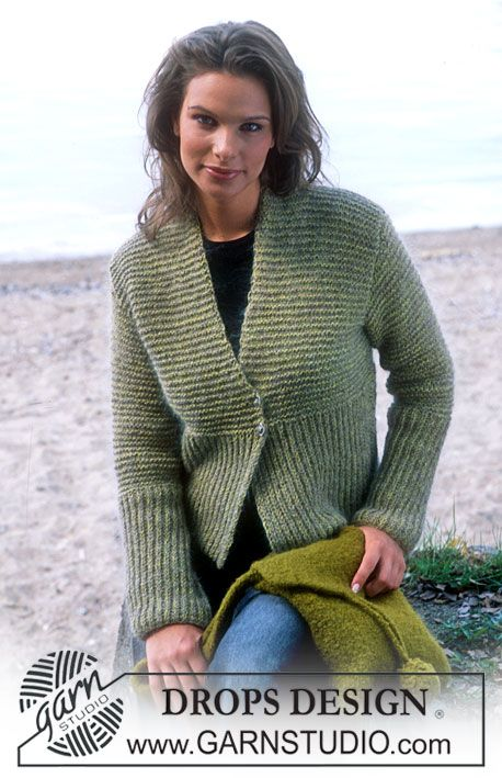 DROPS Cardigan in Silke-Tweed and Vivaldi, and Felted Purse in Eskimo ~ DROPS Design