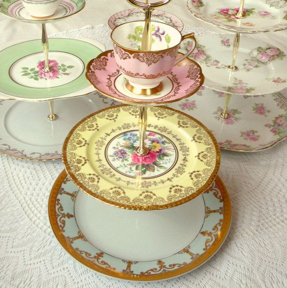 Pink, Yellow & Blue Pastel 3 Tier Serving Tray with Cup & Saucer for Cupcake Display, Mad Hatter Tea Party, Gender Neutral Baby Shower or Tiered Wedding Dessert Pedestal by High Tea for Alice