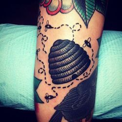 Beehive Honeycomb Tattoo Design
