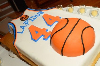 Great Bar Mitzvah cake for a basketball themed Bar Mitzvah from Marios Bakery.