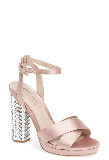 luna embellished sandal by Topshop. Satin straps crisscrossing at the toe and a slim ankle strap define this platform standout sandal lifted by a crystal...