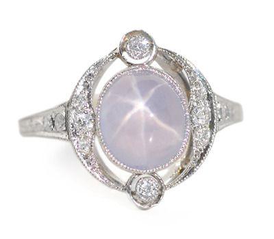 Art Deco Star Sapphire Ring c. 1925- The Three Graces