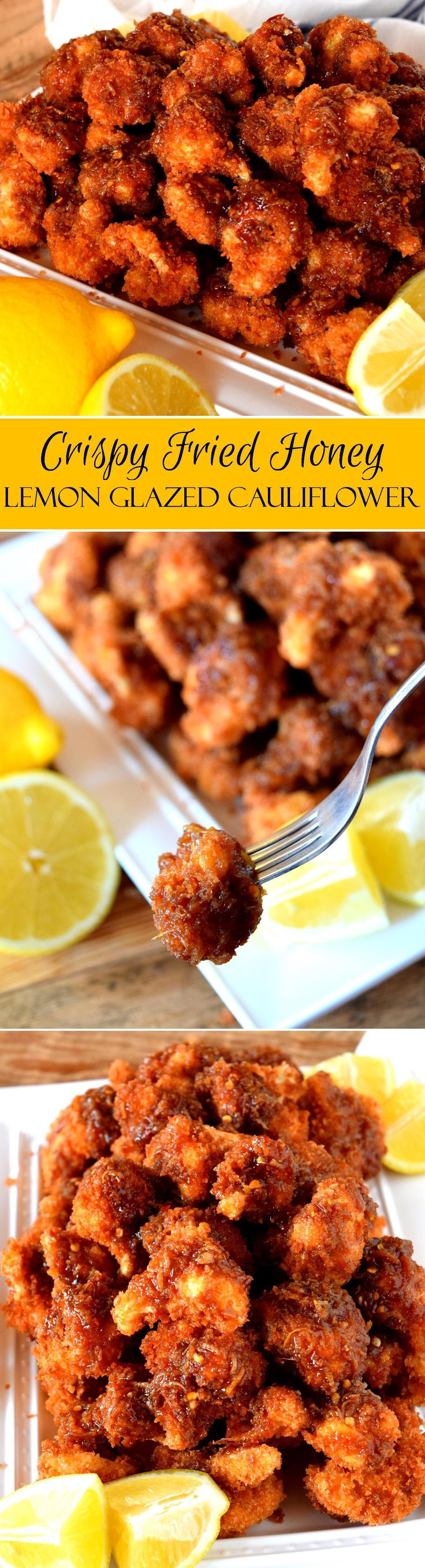 Crispy Fried Honey Lemon Glazed Cauliflower