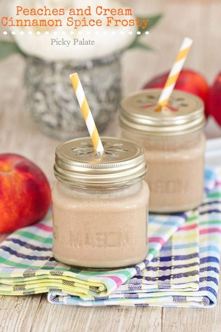Peaches and Cream Cinnamon Spice Frosty: Recipe, Cream Cinnamon, Picky Palate, Cinnamon Spice, Peaches, Spices, Spice Frosty