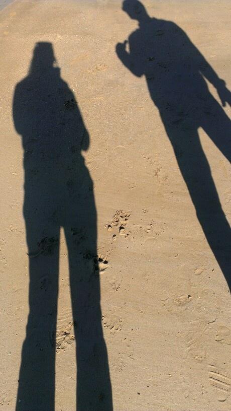 Shadow talk on the beach