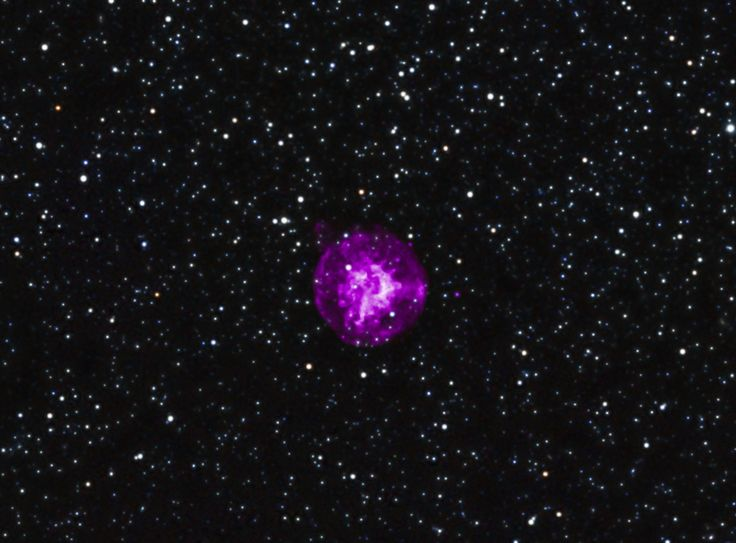 SNR B0049-73.6: Located in the neighboring galaxy of the Small Magellanic Cloud, this supernova, SNR B0049-73.6, provides astronomers with another excellent example of an explosion to study. Chandra observations of the dynamics and composition of the debris from the explosion support the view that the explosion was produced by the collapse of the central core of a star. In this image, X-rays from Chandra (purple) are combined with infrared data from the 2MASS survey (red, green, and blue).