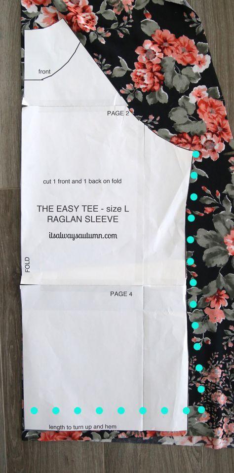 Molde + Tutorial de camiseta raglan