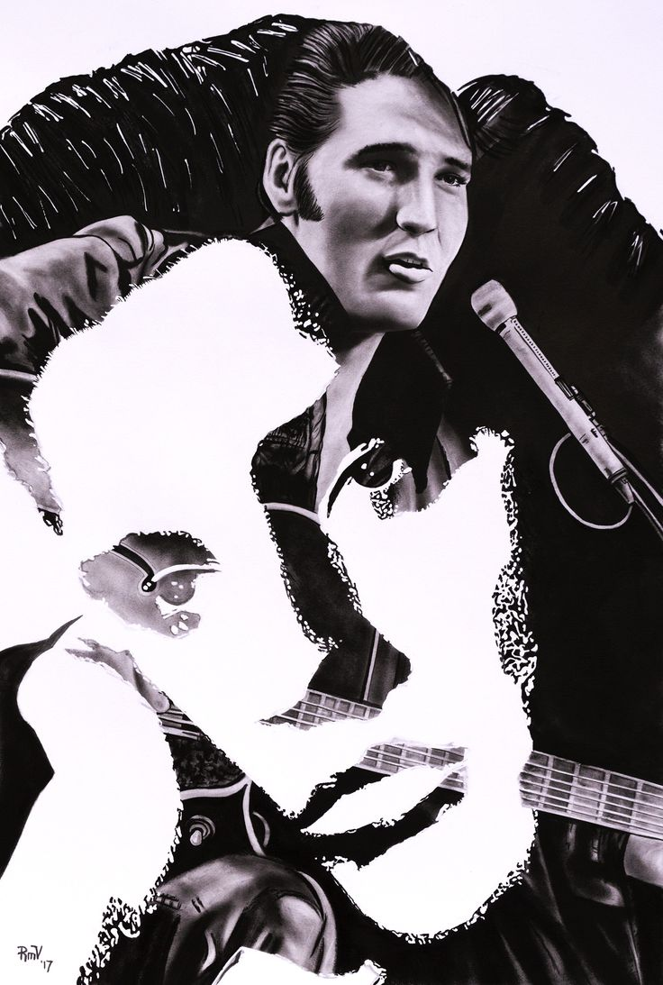 "Original painting ""Elvis Presley"" by Rudy M Vandecappelle - dry brush - oil on paper. For commissions of any portraits (people, wedding, animals), please visit my website"
