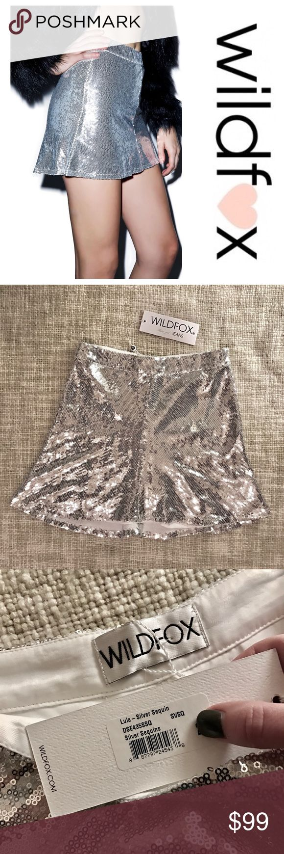 Wildfox Lula Sequin Mini Skirt Wildfox Couture Lula Sequin Skirt - skip the lines in this sparkly skirt! It's high waisted and stretchy with a slight A-line and positively covered in super shimmery sequins. The inner lining is super soft so you can party all night! It feels incredibly well made and has four vertical seams and a hidden zipper in one of them. Brand new with tags!  Materials: 97% Polyester, 3% Spandex Dry Clean Only Model wears 0 and is 5'9 Wildfox Skirts Mini