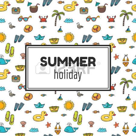 zomer+vakantie%3A+Zomervakantie.+Zomer+tropische+vakantie+achtergrond.+Leuke+hand+getrokken+wenskaart.+vector+illustratie+Stock+Illustratie