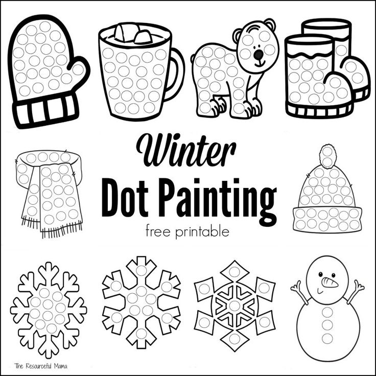 Winter Dot Painting {Free Printable} Dot painting