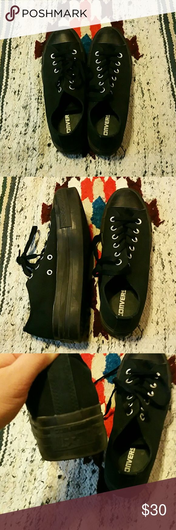 Platform converse Black platform converse in great condition Converse Shoes Platforms