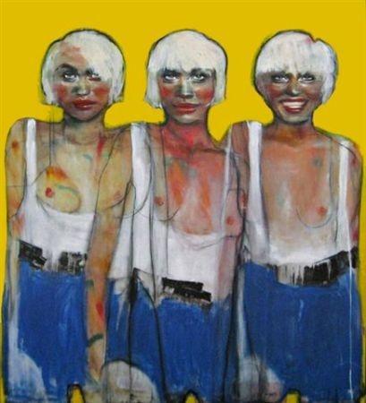 Esther Erlich    Round Three - 2009    Acrylic on canvas    137 x 122 cm