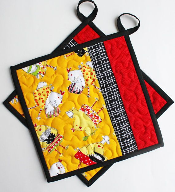 Chef Chicken  Handmade Quilted Potholders  Set by TheMJCollection
