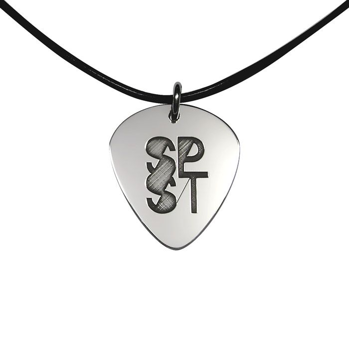 Silver guitar pick in solid silver 925° and laser engraving. By Shine4ever.gr !
