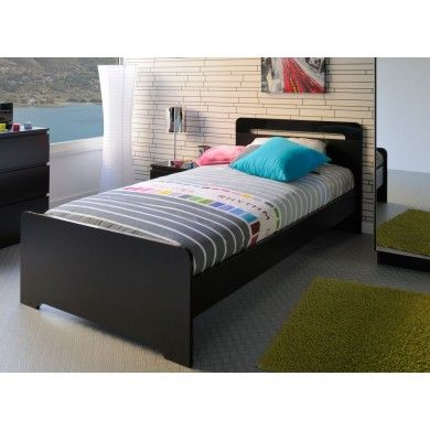 The High Tek 6 Single Bed is a cool black bed with gloss black detail.
