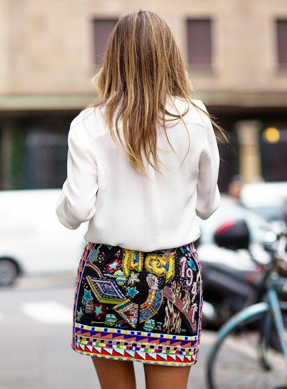 Sequin miniskirt and white blouse // Photo: The Styleograph #MFW #streetstyle