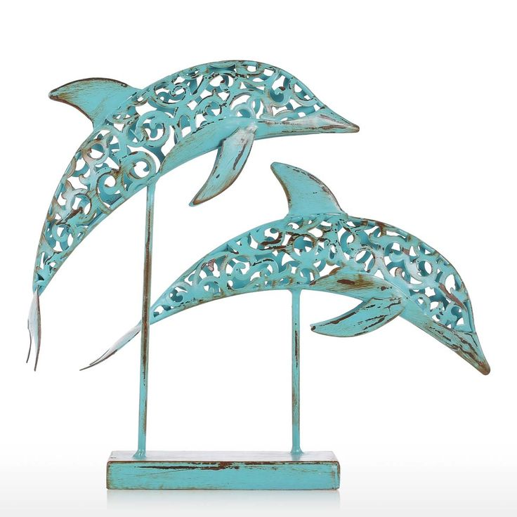 Two Blue Dolphins Iron Handmade Statue Design Statue Ornament Marine Life Retro Effect Sales Online Array - Tomtop  home decor