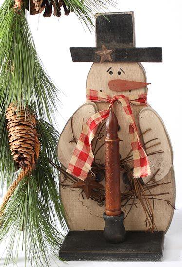 Primitive Wood Crafts | Primitive Rustic Wood Snowman Tapered Candle Holder - Primitive Sale ...