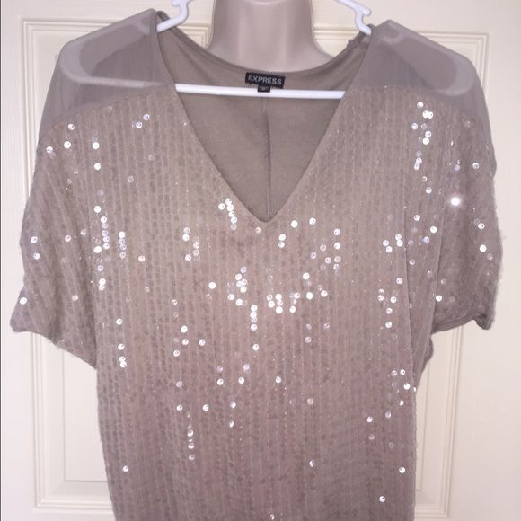 Express beige sequin blouse Express beige sequined blouse on the front side. Worn once, excellent condition! Express Tops Blouses