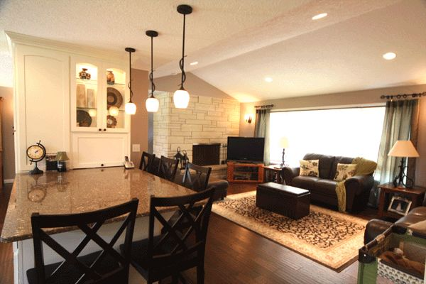 - Open concept kitchen living room small space ...