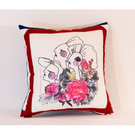 Fedora pillow - beautiful designer pillow decorated with a gorgeous digital stamp.