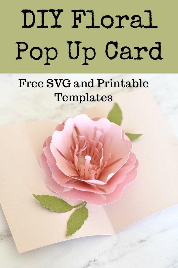 Cricut Pop Up Flower Card Domestic Heights Pop Up Card Templates Pop Up Flower Cards Diy Pop Up Cards