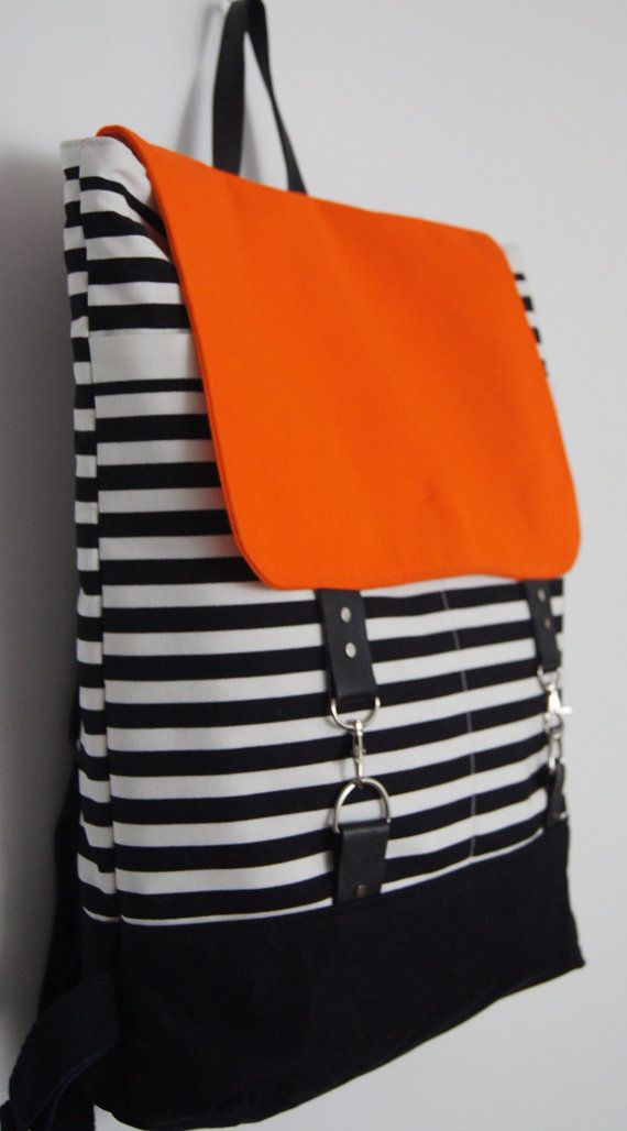 Backpack Black and White Striped/ Neon colours / leather/ cotton/ Laptop Backpack